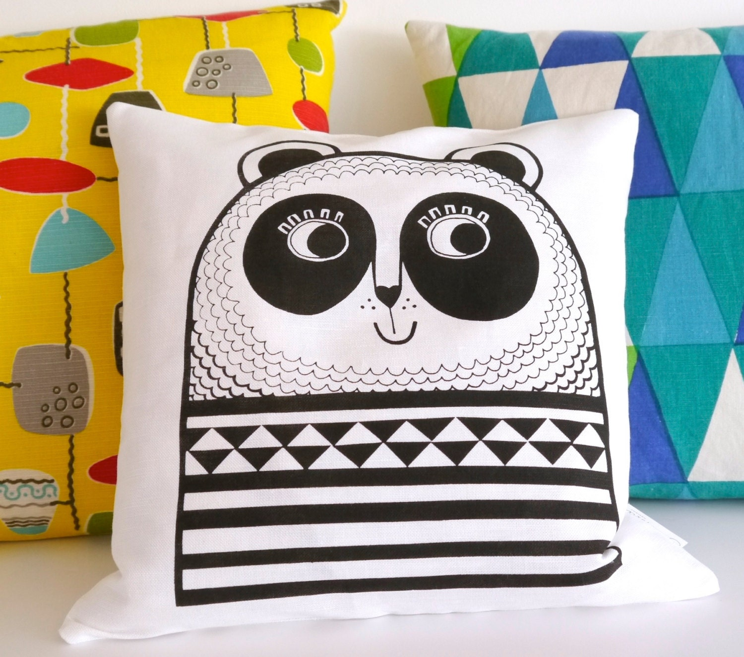 New Screen Printed Happy Panda Cushion by Jane Foster