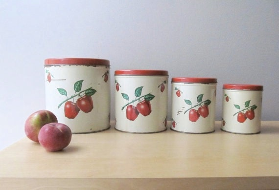 red apples vintage tin canisters decoware canister by