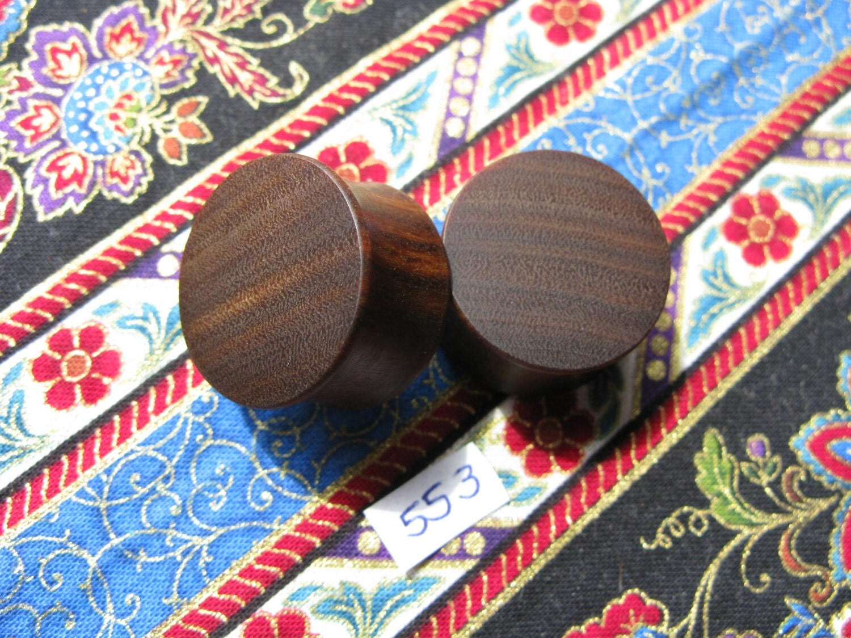 22mm Handmade Wooden Pau Santo Brazilian Blackheart Ear Plugs Pair  Easy Care ( Overall size 23.6mm )