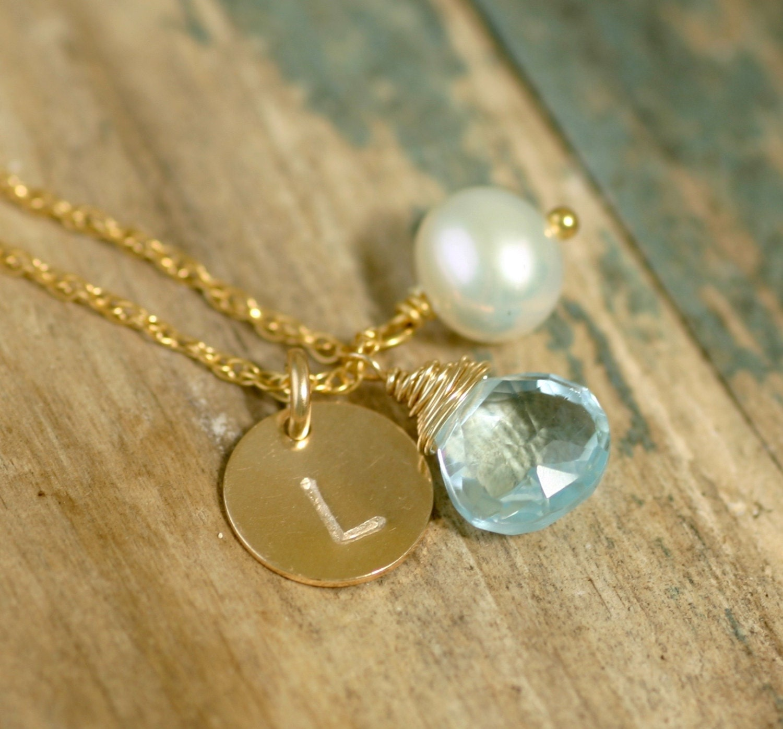 December birthstone necklace blue topaz necklace initial necklace bridesmaid personalized bridesmaid gift monogram necklace  Ella
