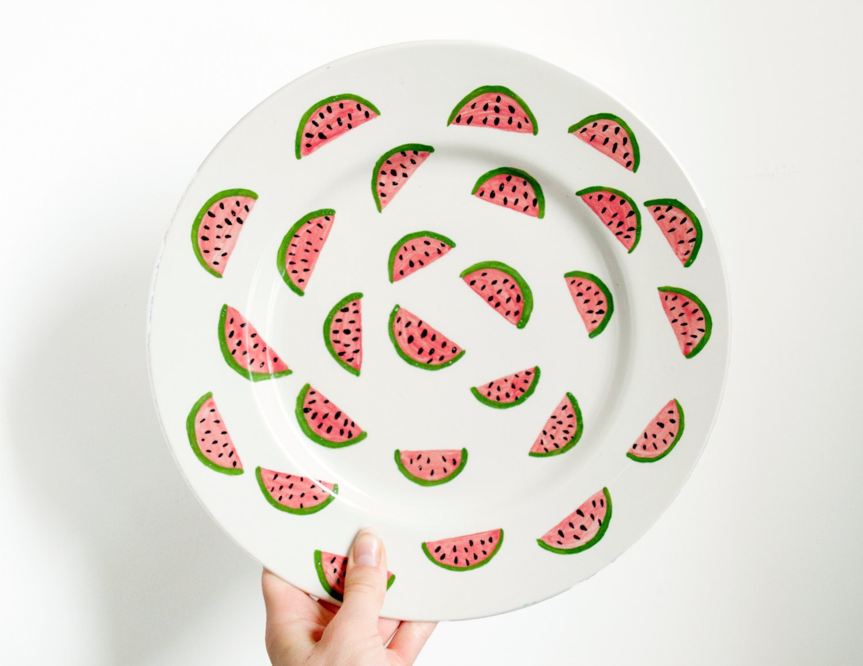 SALE - Large Ceramic Watermelon Plate - KimLegler