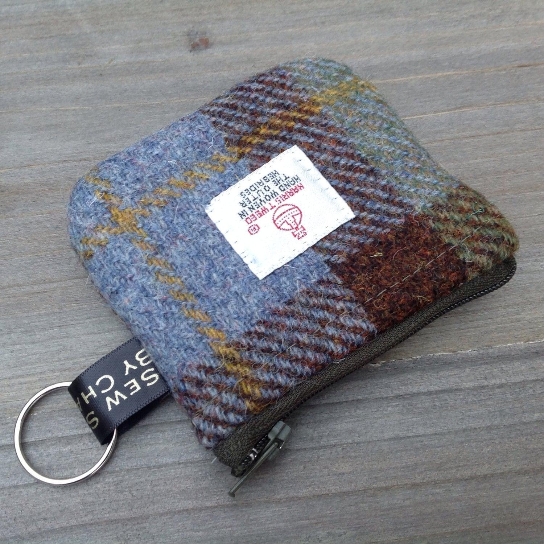 Harris tweed coin purse in MacLeod Tweed with keyring loop