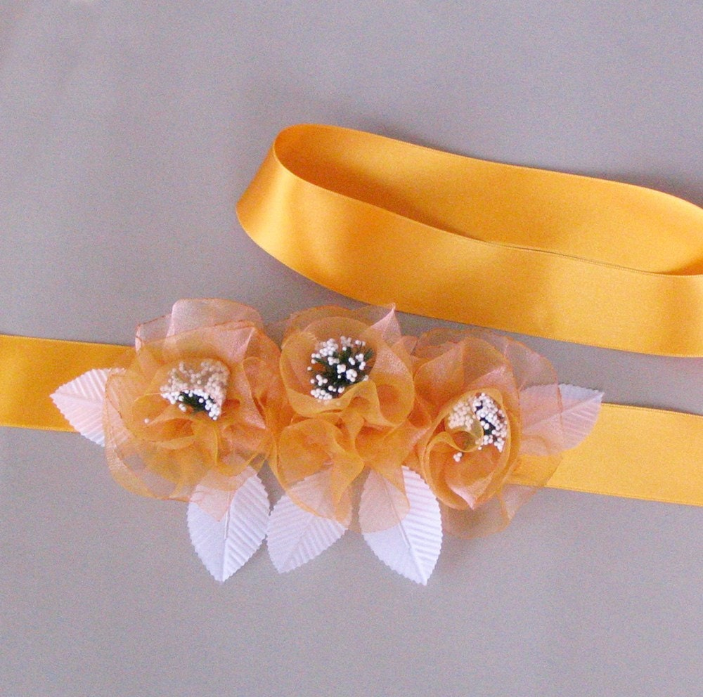Wedding Dress Belt Yellow Satin Ribbon Bridal Sash with Organza