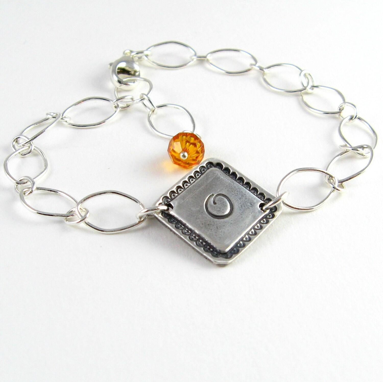 Silver Monogram Bracelet, Personalized Initial Bracelet, Birthstone Bracelet, Graduation Gift, PMC Jewelry Swarovski Birthstones - newhopebeading