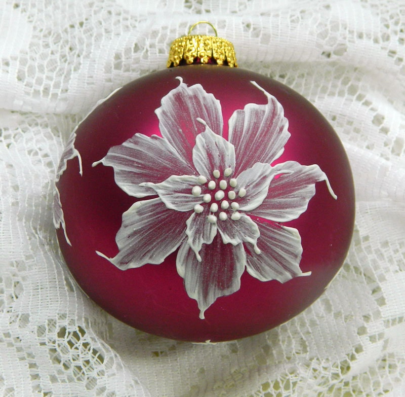 Soft Red MUD Ornament with Poinsettias