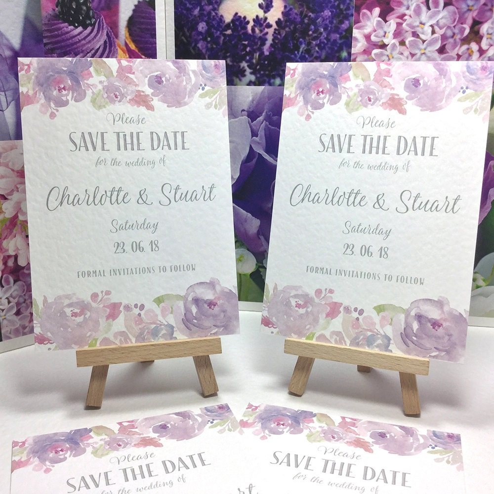 Wedding SAVE the DATE cards Watercolour PEONIES in Dusky Purple Pastel Lilac Silver lettering personalised and printed on textured card