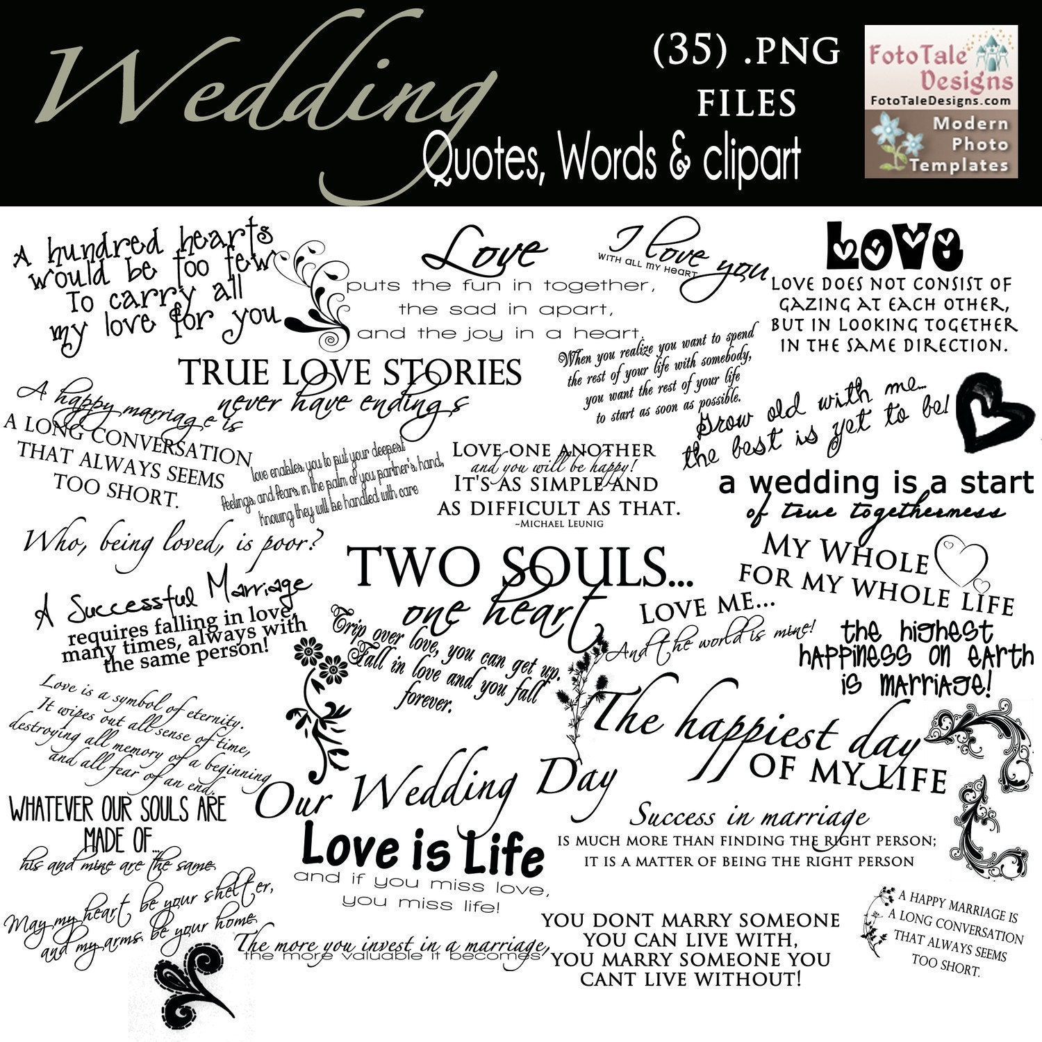 Wedding Words: INSTANT DOWNLOAD Wedding Word Art Collection By
