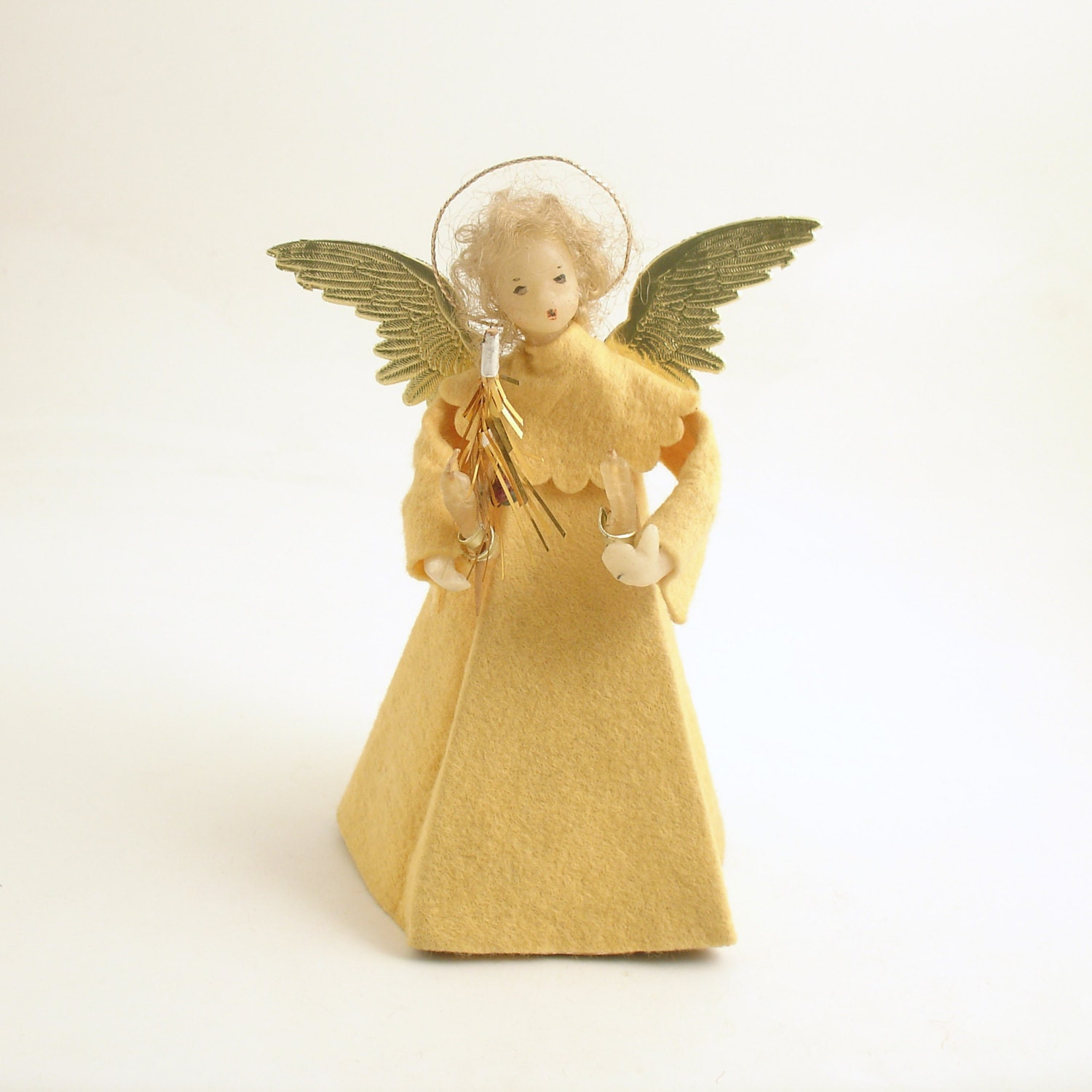 Vintage christmas decoration wax head angel by efinegifts for Angel of the north christmas decoration