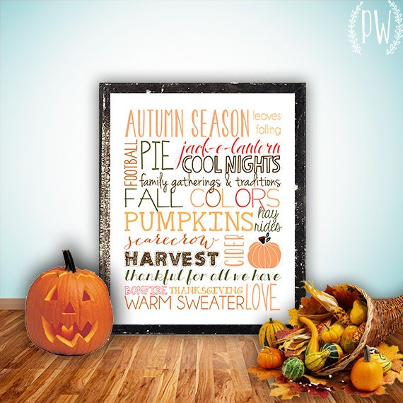 Fall subway art printable wall decor print autumn season pumpkin typography halloween art decoration holiday decor - INSTANT DOWNLOAD PDF - PrintableWisdom