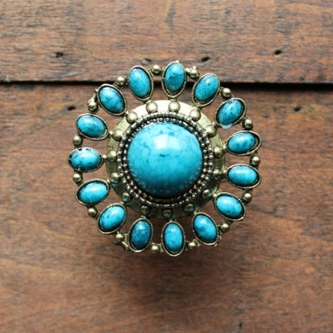 Brass drawer knobs with turquoise stones mk163 by darosa for Turquoise door knobs