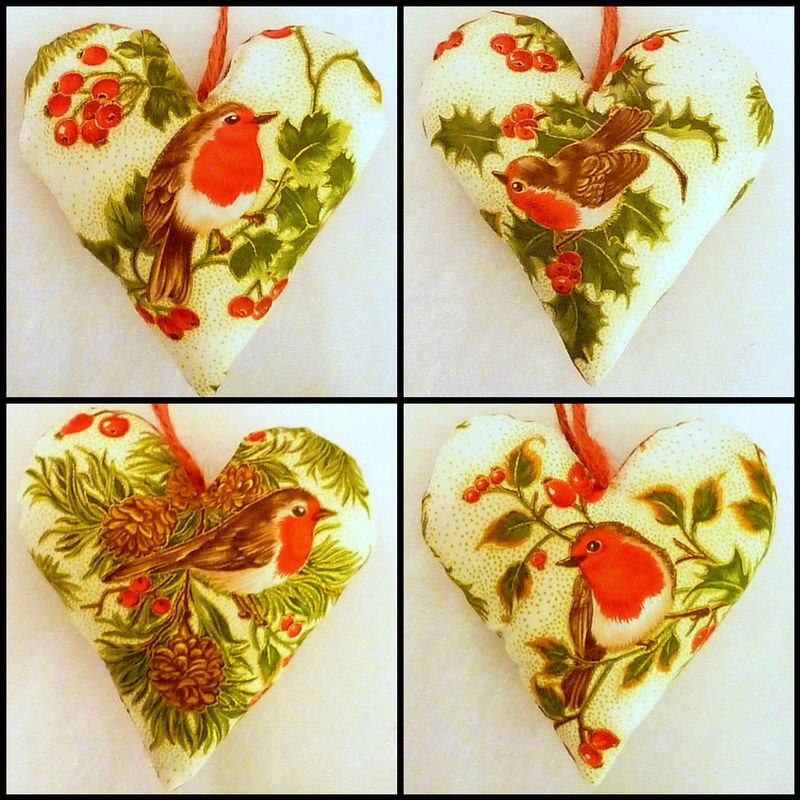 Robin Christmas Tree Decoration Heart Hanger Cream Red Green Gold Holly Mistletoe