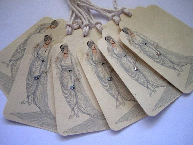 Потертый Vintage невеста подарков Метки Набор из 6 - Vintage Свадьба - свадебные Потертый