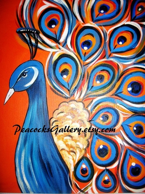 Peacock original acrylic painting 20x24 sale by for Easy peacock paintings
