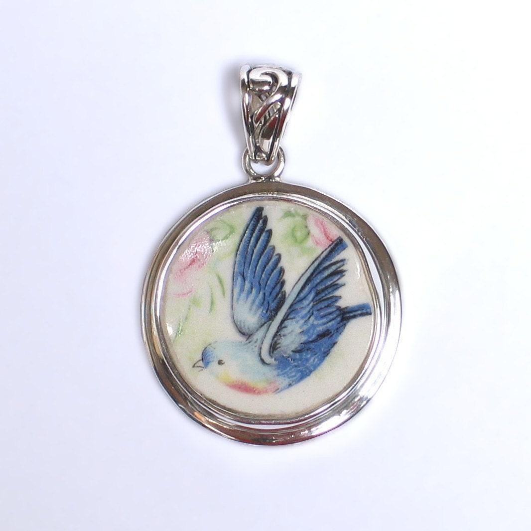 broken china jewelry vintage blue bird bluebird by