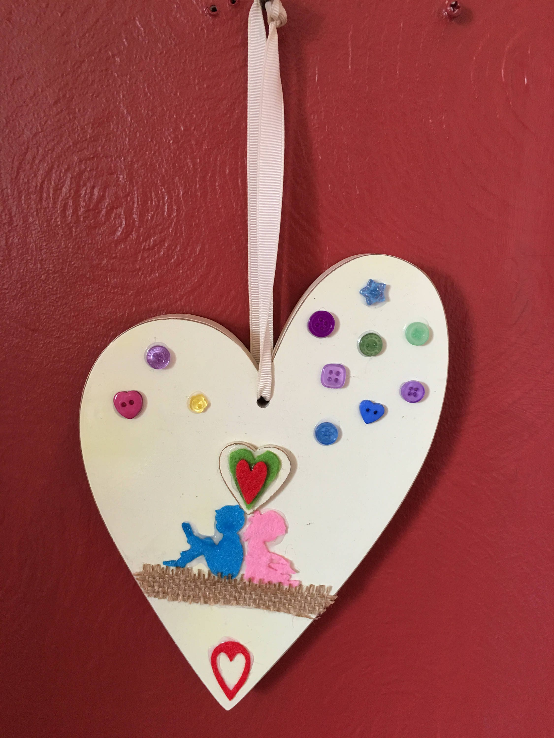 Dorphys Handmade In Yorkshire Hand Decorated Wooden Heart Wall Hanging