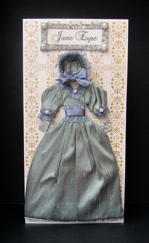 Jane Eyre Dress Card / Keepsake DL Box / Handmade Greeting Card