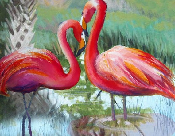 Love Birds Flamingo watercolor painting reds greens landscape