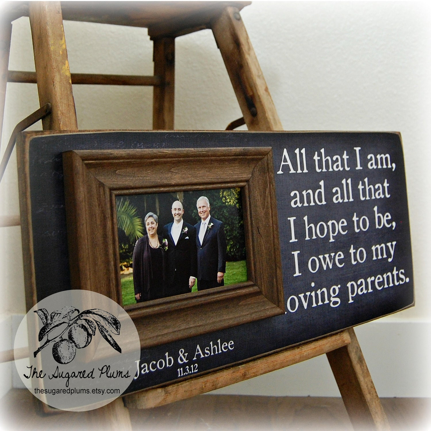 Personalized Wedding Picture Frames For Parents : Parents Wedding Gift Personalized Picture Frame by thesugaredplums