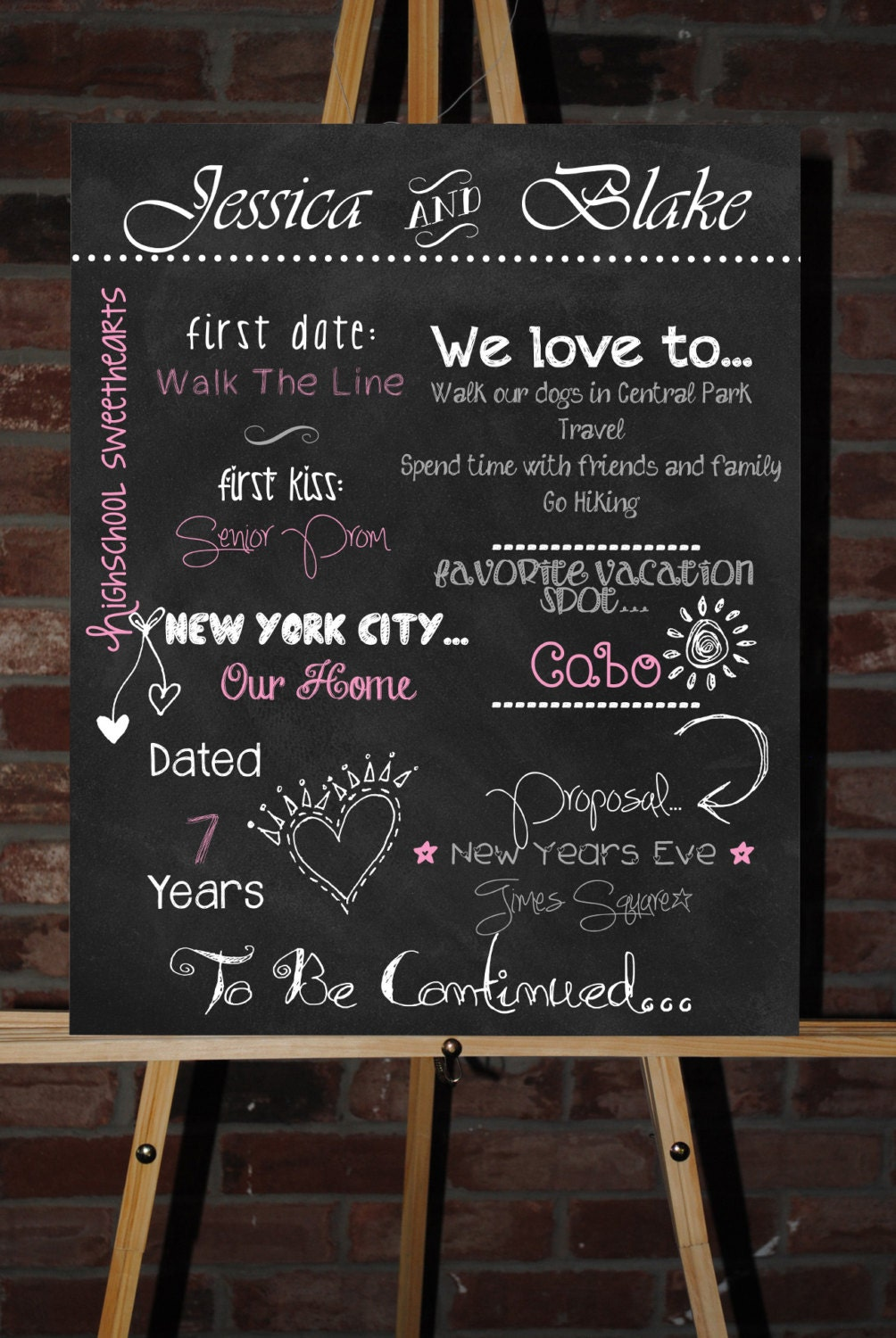 custom printable engagement party couples by