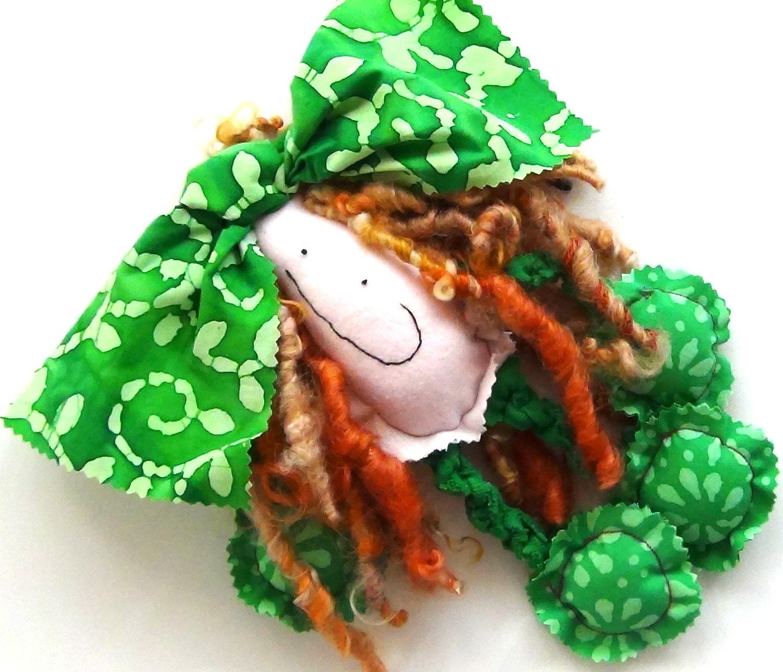 "Floppy Doll In Bright Green ""Batiking Beauty"" Little Charmer Handmade Cloth Doll by GoHeyJudy"