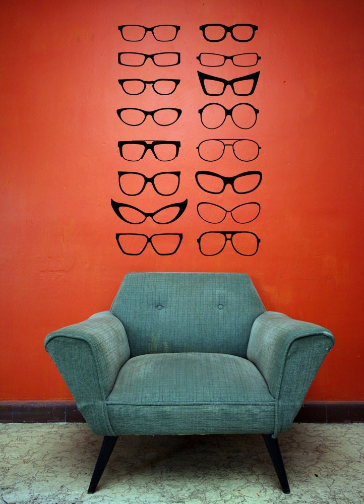 Eyeglass Frame Decorations : Four Eyes Eye Glasses Cat Eyes Frames Decal by ...