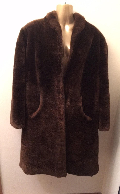 Vintage Faux Fur Full Length Coat Size 1416 (UK)