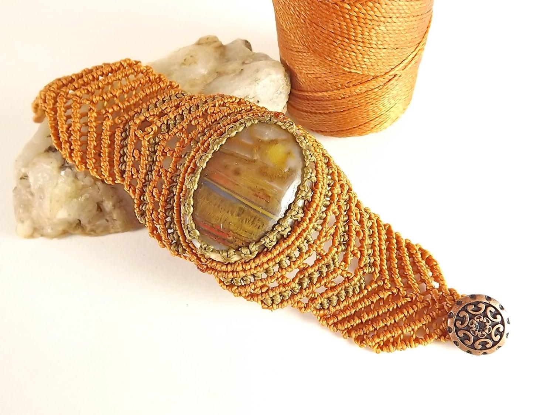 Macrame bracelet, Agate Gemstone bracelet, Copper and Olive - neferknots