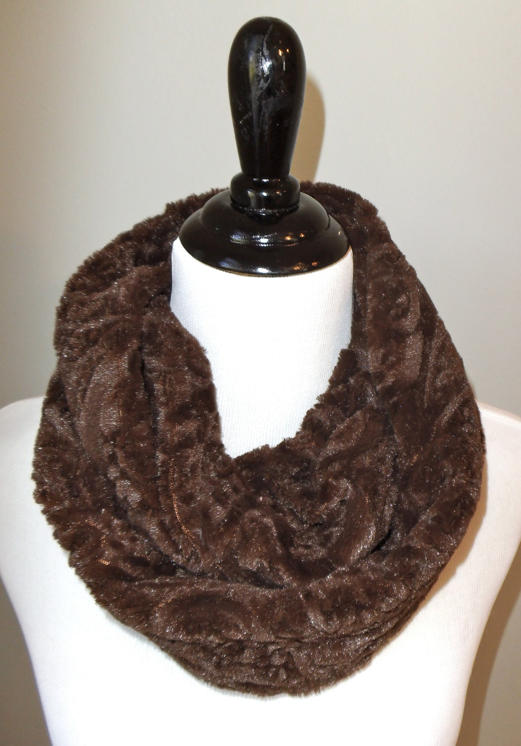Minky Infinity Scarf  - Chocolate Brown Paisley Textured Minky -  Faux Fur - Warm and Soft - Loop Scarf
