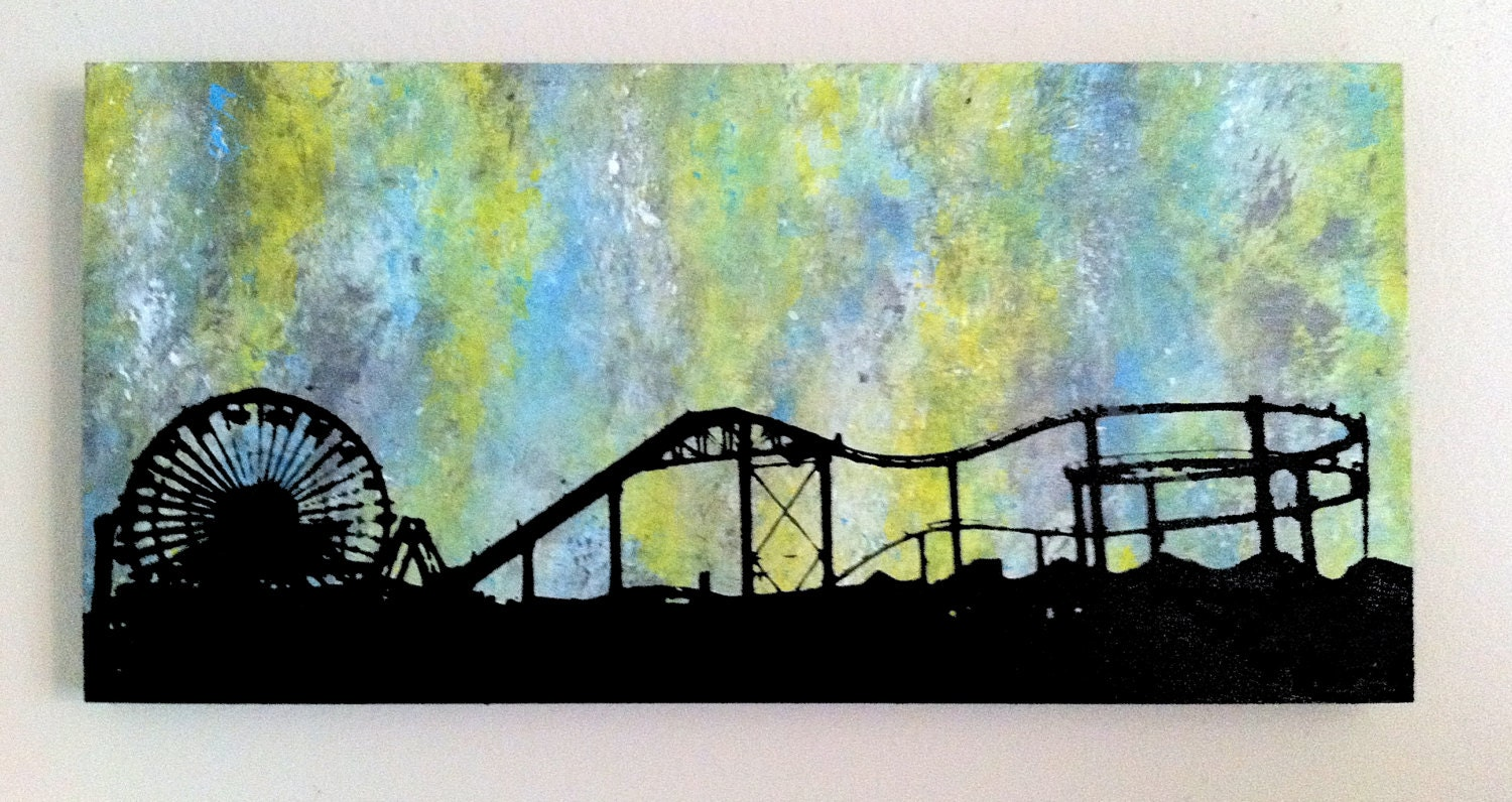 Santa Monica Pier original screen print on hand made wood box. Green, blue, yellow, black grunge - ArtbyColorScape