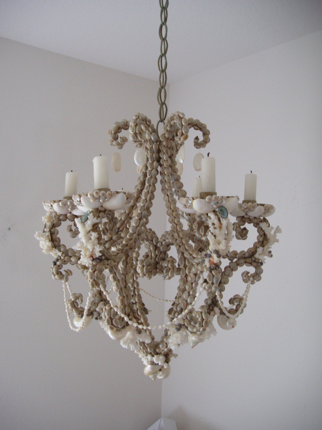 Seashell Chandelier w Candles by SandisShellscapes on Etsy
