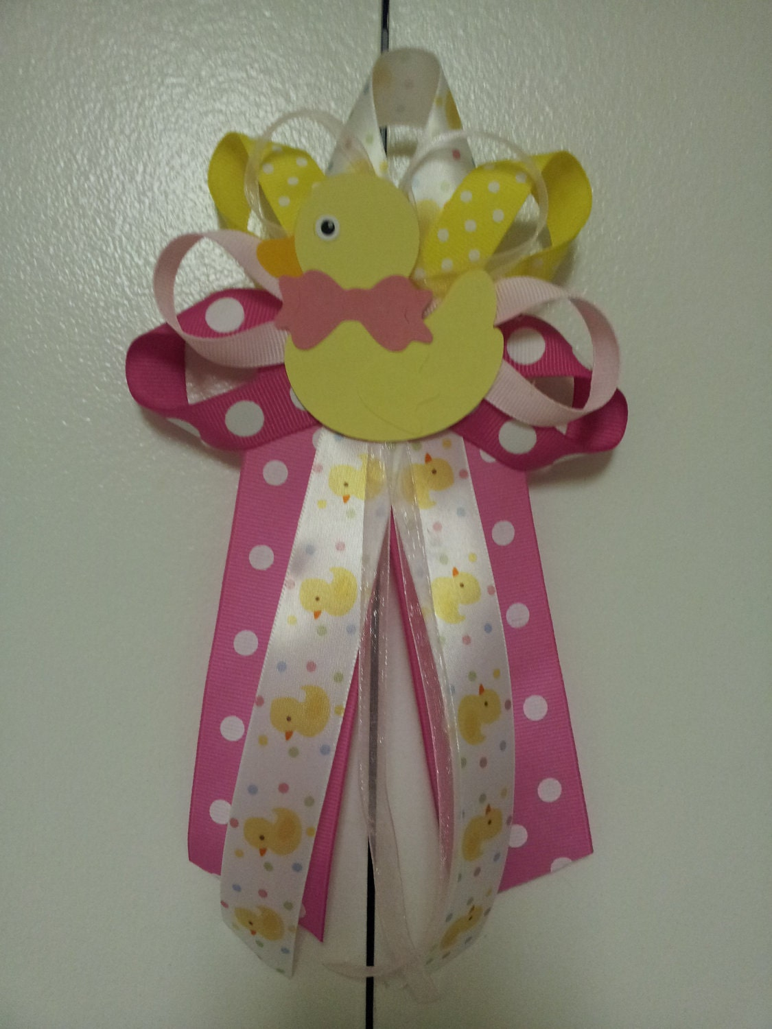 pink and yellow duck baby shower pin corsage by diapercake4less