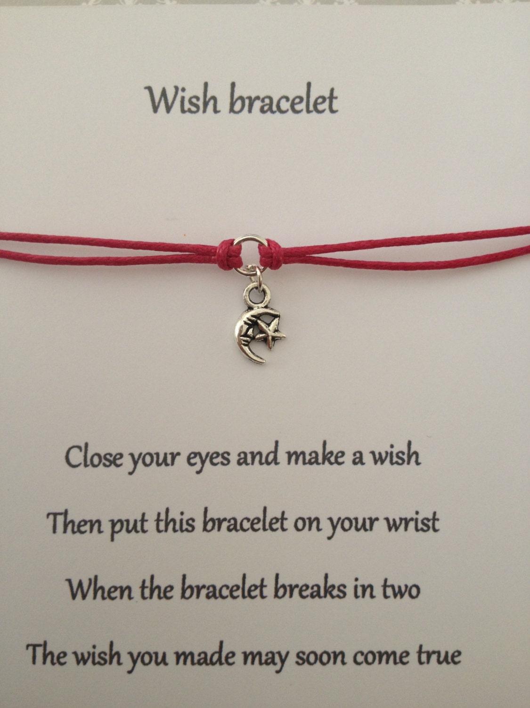 Moon Star Friendship Wish Bracelet on Wedding Thank You Cards Etsy