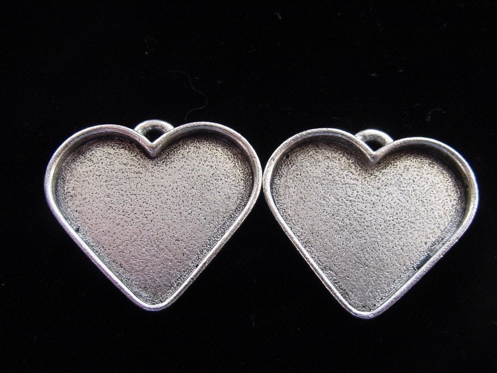 2 pendant blanks large silver plated pewter by