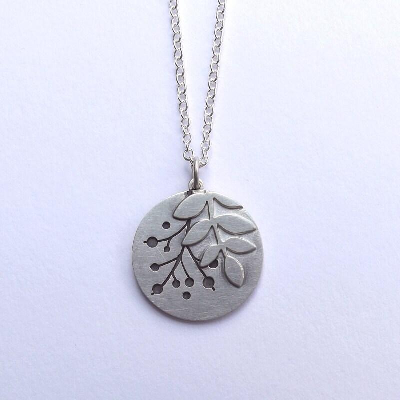 Handmade Silver Rowan Disc Pendant By Goldfinchjewellery On Etsy