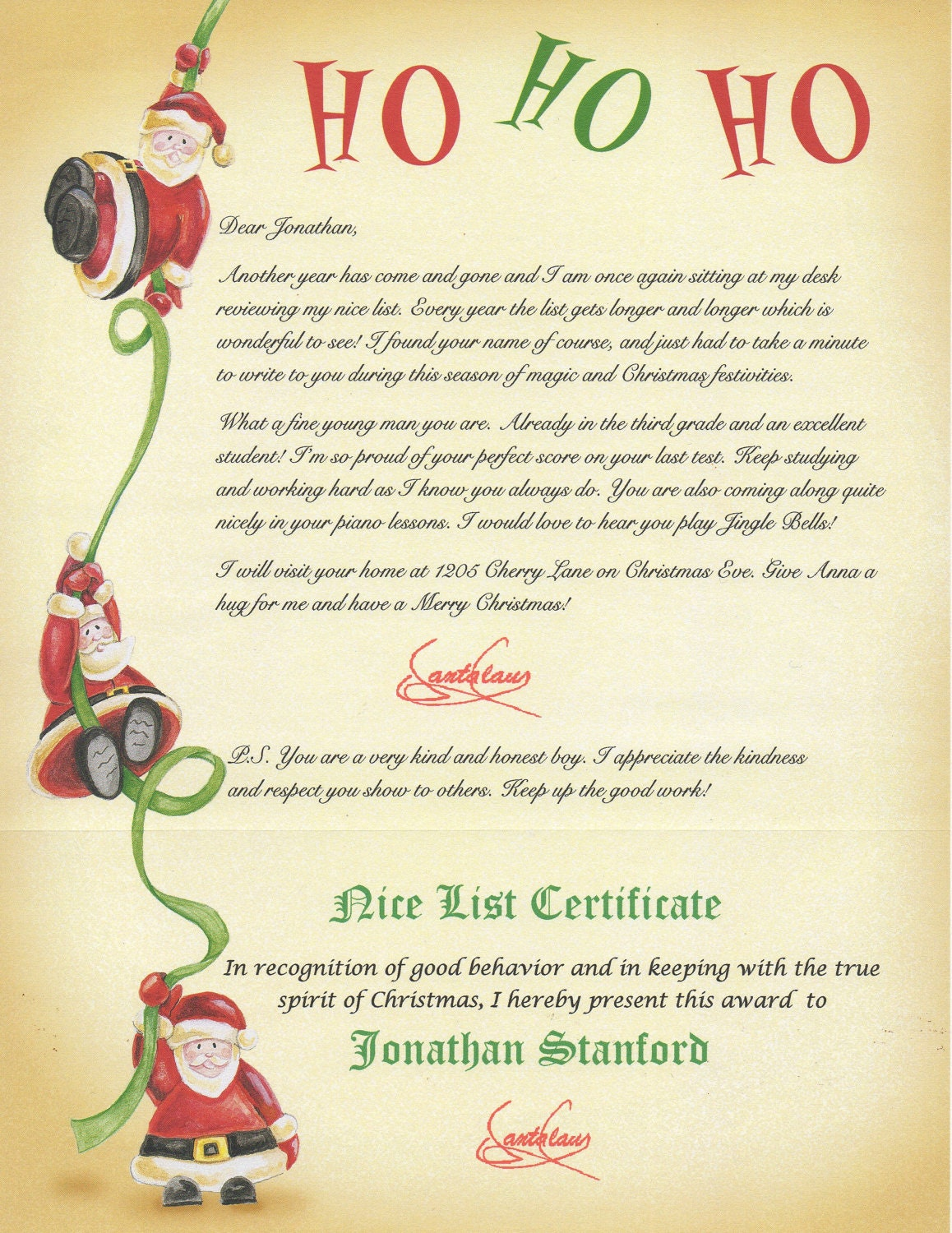 Nice List Santa Letter-Certificate Personalized by MerryMailbox
