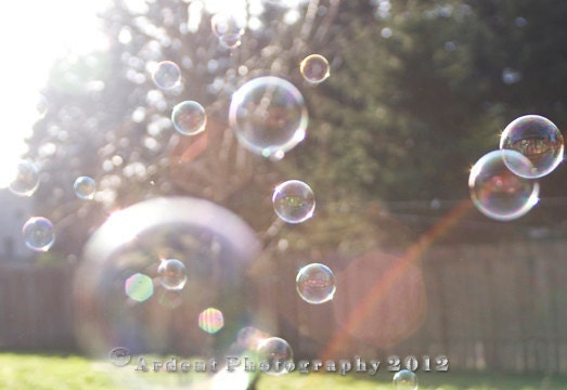 Rainbow Light Summer Photograph Wall Art Room Decor Fun Bright Bubbles - Blowing Bubbles - a Photograph of Bubbles and Light - Smcternen
