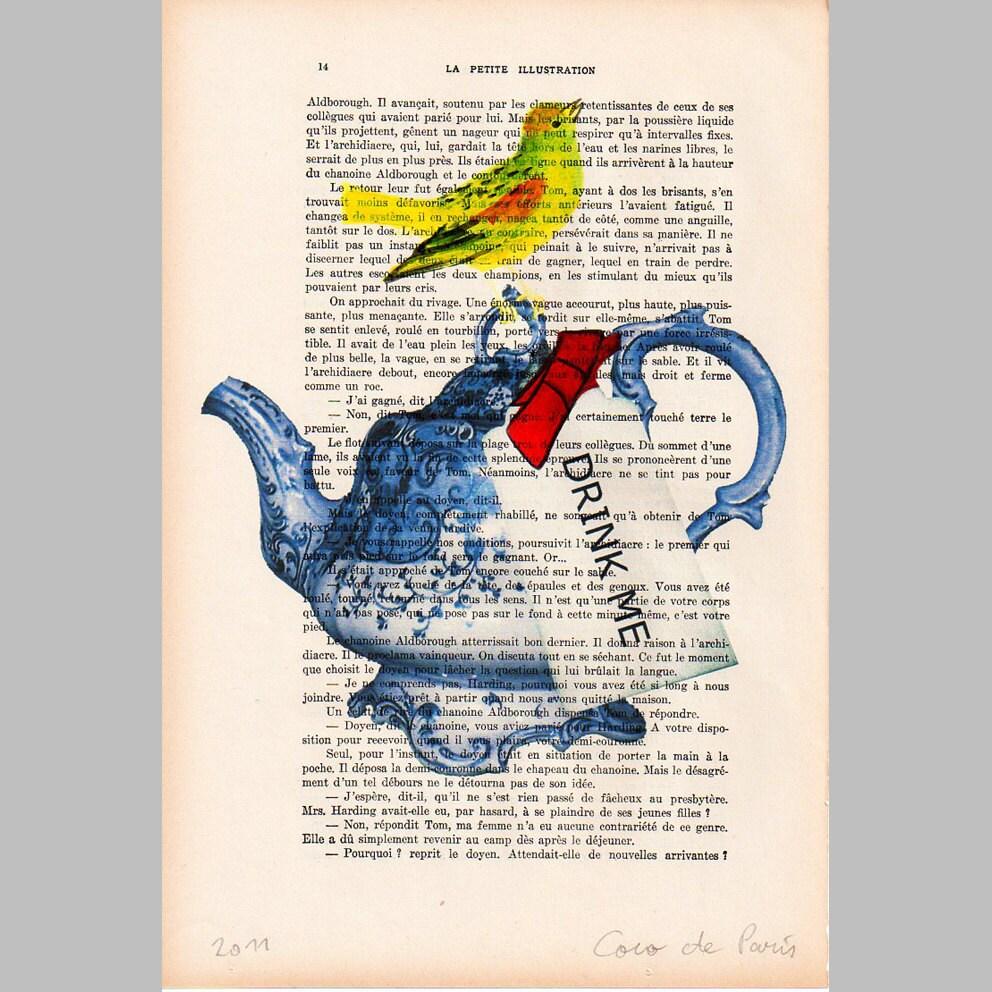 """Пить мне чайник - Original ручная роспись ARTWORK Смещаная 1920 известный журнал Parisien 'La Petit Иллюстрация """"Коко де Пари"""