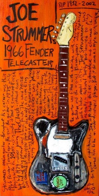 Joe Strummer Fender Telecaster electric guitar art print - KarlHaglundArt