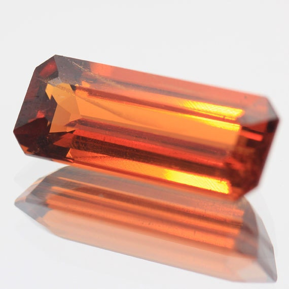 Unheat Natural Gemstone Spessartite Garnet Orange Baguette 4.55 Ct. Faceted - changthailandgem