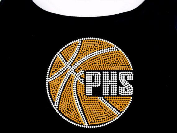 Custom high school basketball rhinestone t shirt by for High school basketball t shirts