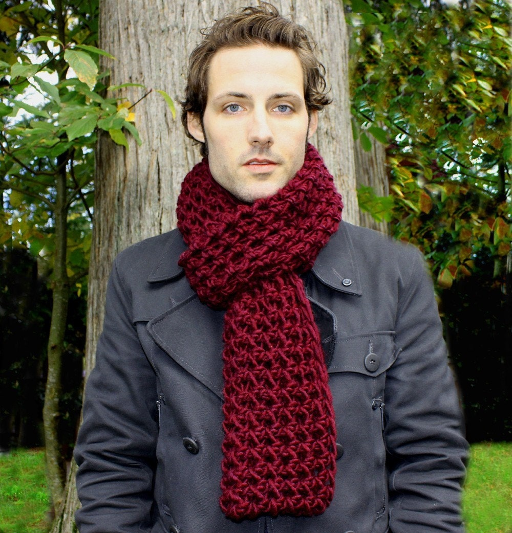 Mens Cowl neck Scarf Wool Cranberry Red warmer by BessetteArt Cowl Neck Scarves Men