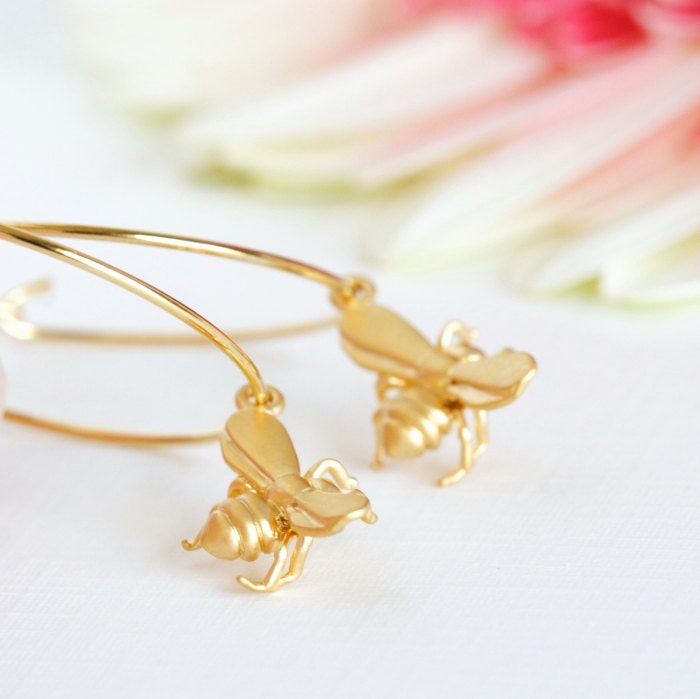 Bee Earrings - Honey Bee Gold Hoop Earrings - Tiny Matte Gold Honey Bee Charms - Summer Fashion - JacarandaDesigns