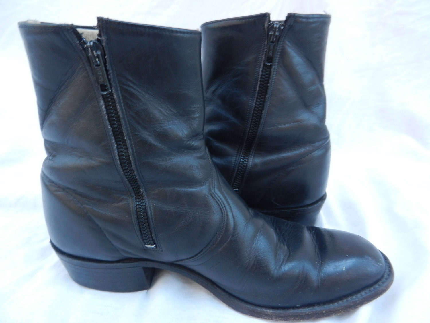 items similar to black leather zip up boots u s s