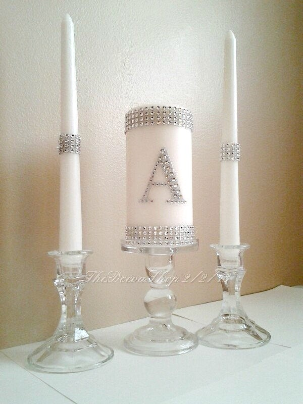 Unity Wedding Candle Set Silver Bling Monogram By TheDeevaShop