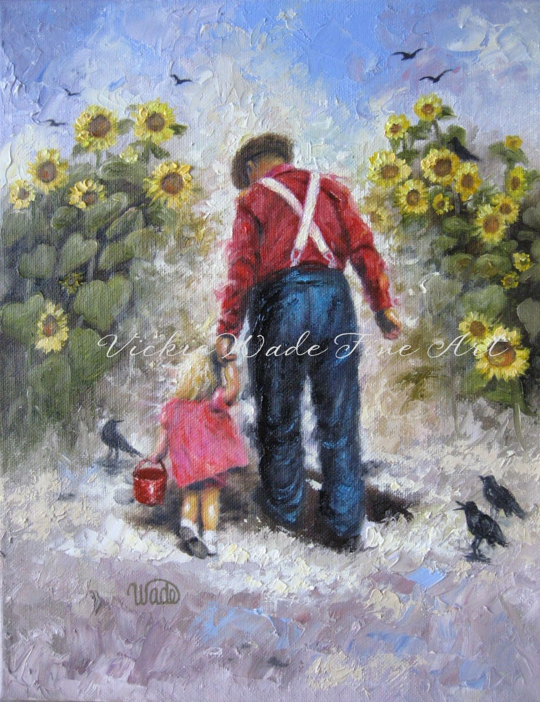 Sunflower Walk With Grandpa Art Print, blond girl, dad, grandpa, farmer, crows, sunflower paintings, Vickie Wade art - VickieWadeFineArt