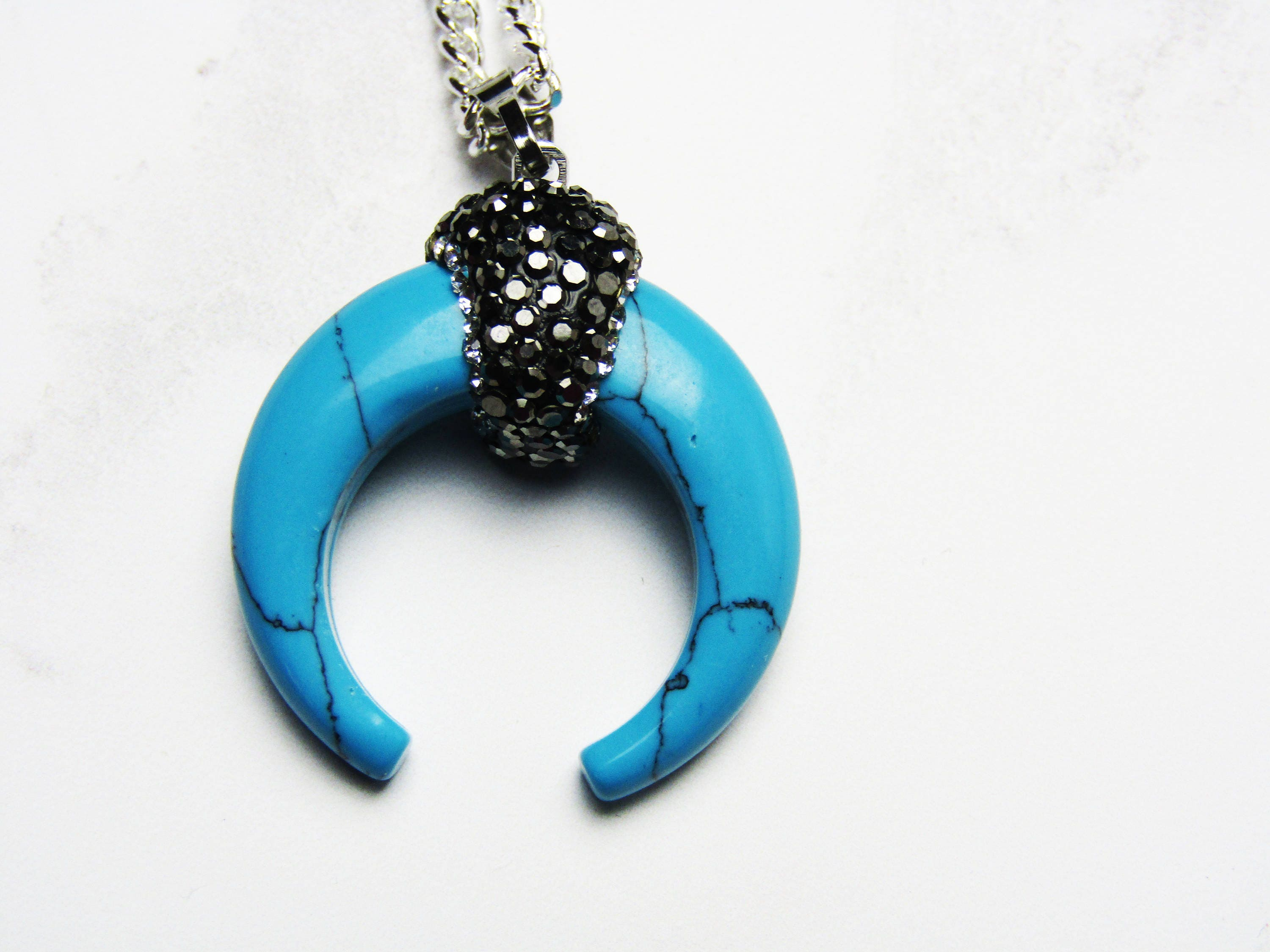 Turquoise Necklace Horn Shaped Pendant Horn Necklace Turquoise Necklace Turquoise Gemstone Blue Necklace Silver Necklace