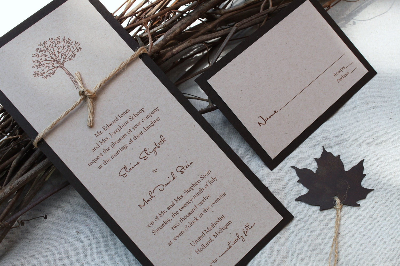 Rustic Wedding Invitation Autumn Or Fall By Decadentdesigns
