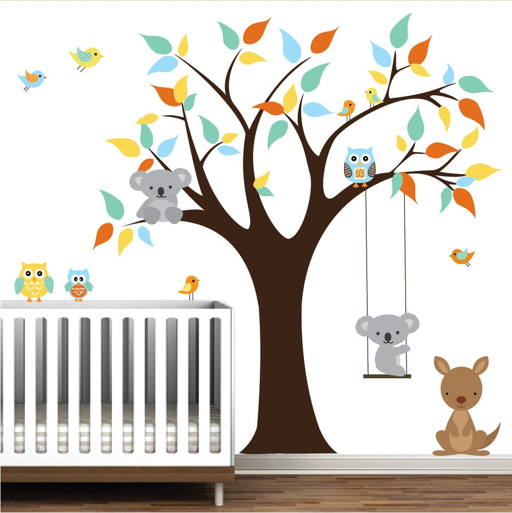 children vinyl wall decals tree decal with kangaroo by modernwalls. Black Bedroom Furniture Sets. Home Design Ideas