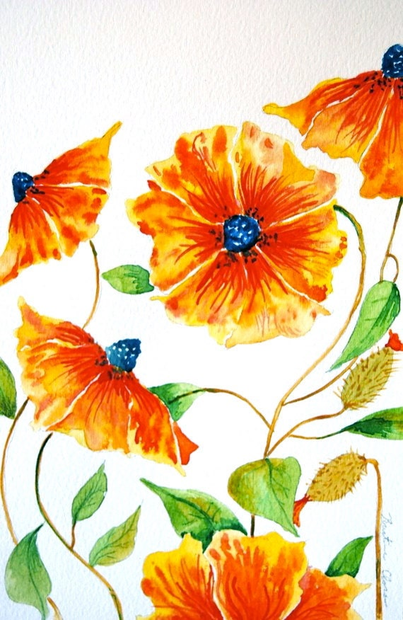 Bright flowers original watercolor painting by woodpigeon for Bright flower painting