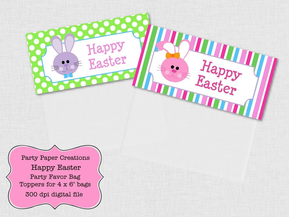 ... Easter Favor Bag Toppers and Kisses Labels Printable pdf - Easter
